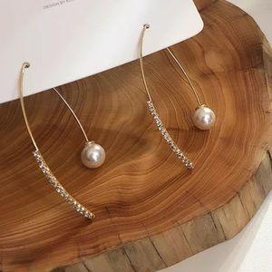 JustIn🎉Simple Simulated Pearl Rhinestone Earrings